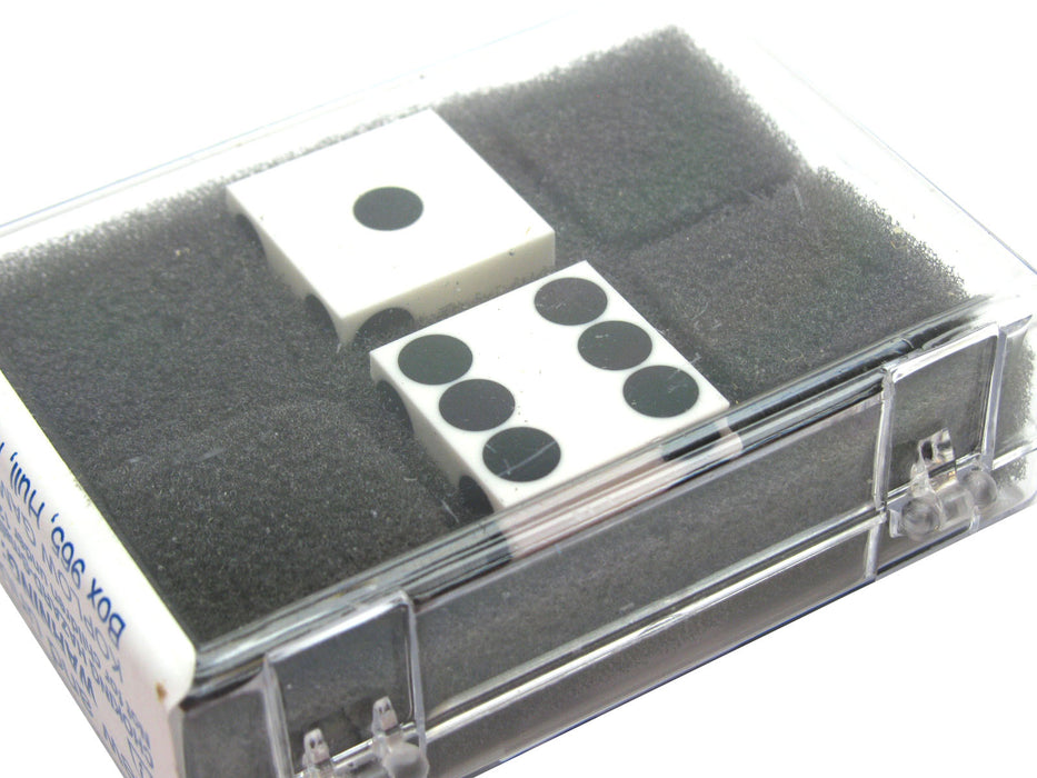 "Opaque Precision Casino 3/4"" Dice, 2 Pieces in Case - White with Black Pips"