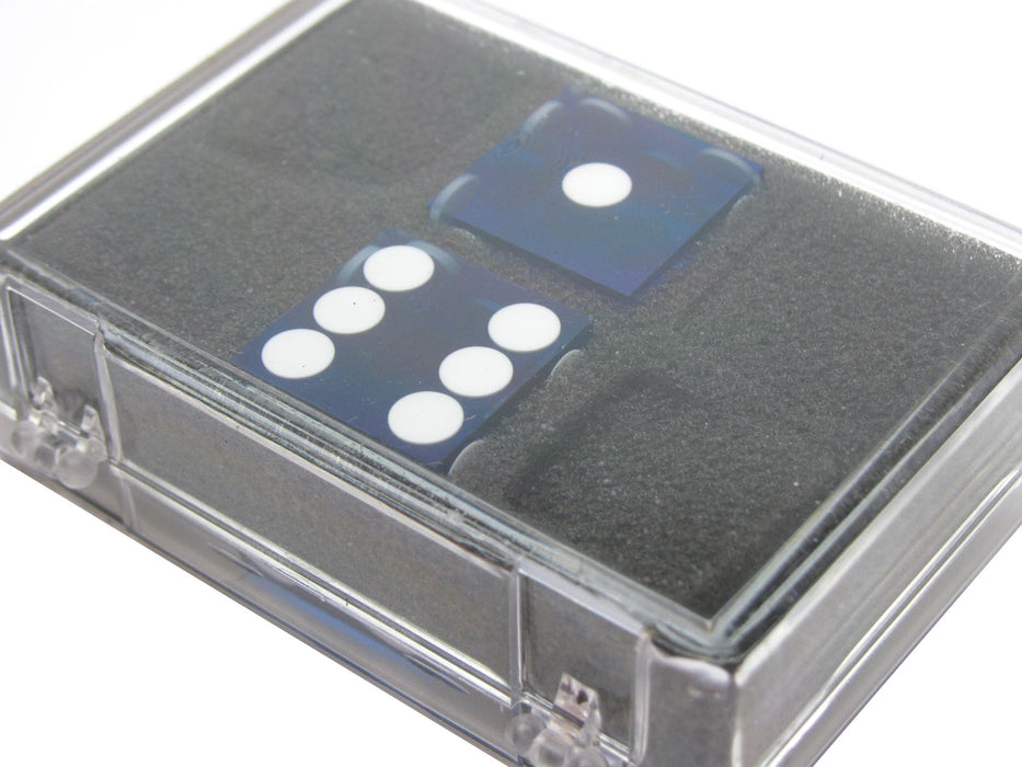 "Transparent Precision Casino 3/4"" Dice, 2 Pieces in Case - Blue with White Pips"