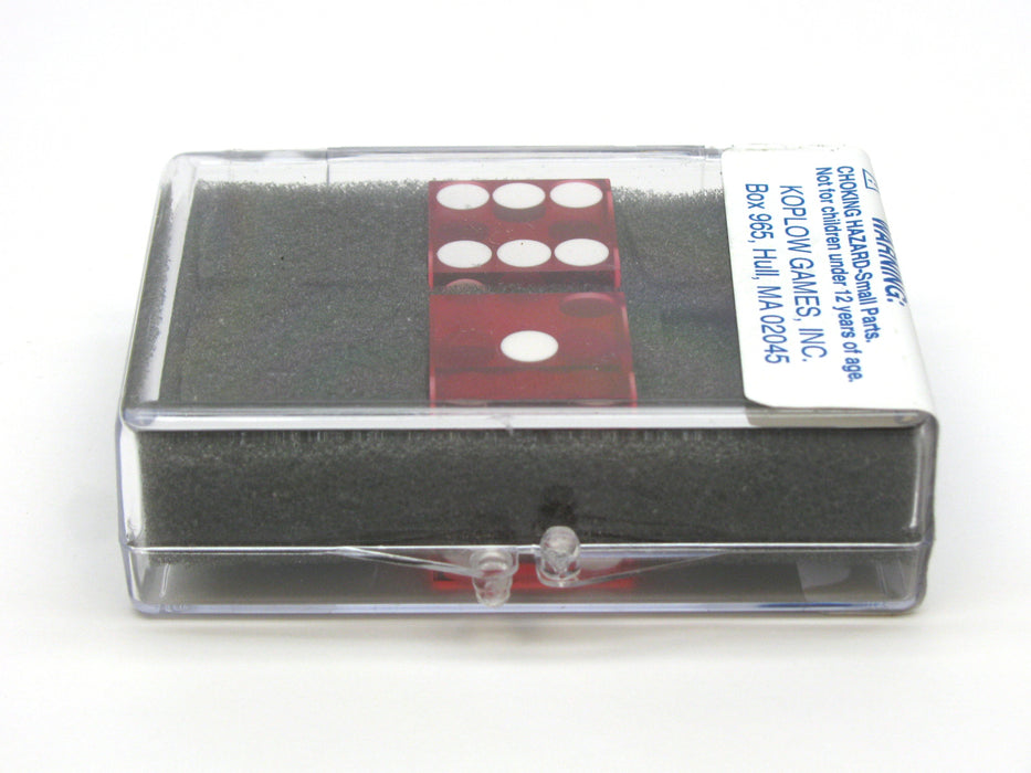 "Transparent Precision Casino 3/4"" Dice, 2 Pieces in Case - Red with White Pips"