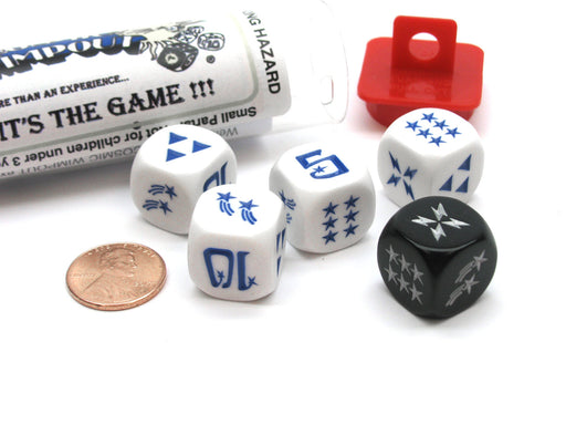 Cosmic Wimpout Dice Game - 5 Dice Set with Travel Tube and Instructions