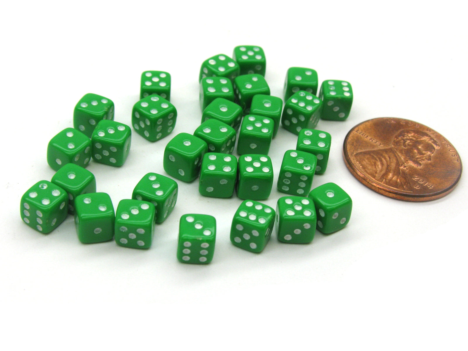 30 Deluxe Rounded Corner Six Sided D6 5mm .197 Inch Small Tiny Dice - Green