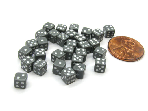 30 Deluxe Rounded Corner Six Sided D6 5mm .197 Inch Small Tiny Dice - Gray