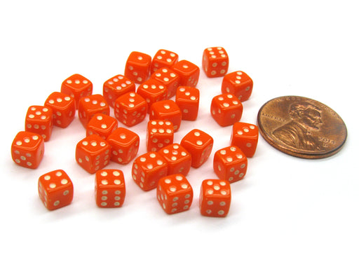 30 Deluxe Rounded Corner Six Sided D6 5mm .197 Inch Small Tiny Dice - Orange