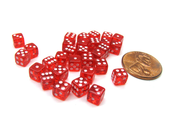 Set of 30 D6 5mm Transparent Rounded Corner Dice - Red with White Pips