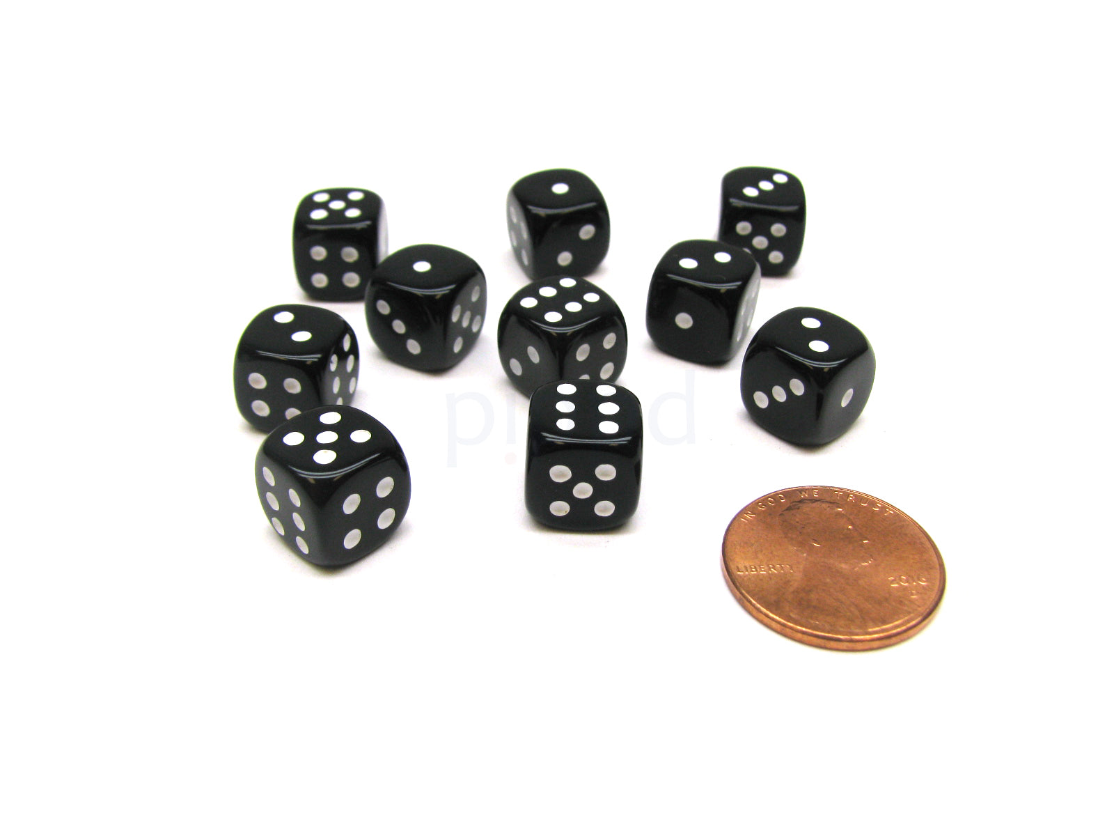 Black with White Pips Pack of 10 Deluxe Round Edge Small 10mm Opaque D6 Dice