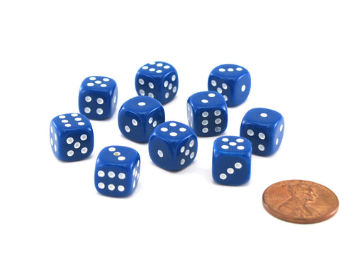 Pack of 10 Deluxe Round Edge Small 10mm Opaque D6 Dice - Blue