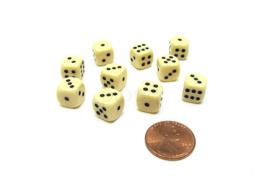 Pack of 10 Deluxe Round Edge Small 10mm Opaque D6 Dice - Ivory