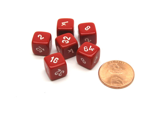 Pack of 6 Small 10mm Opaque Doubling Cube Dice - Red with White Numbers