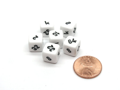 Pack of 6 Small 10mm Opaque Doubling Cube Dice - White with Black Numbers