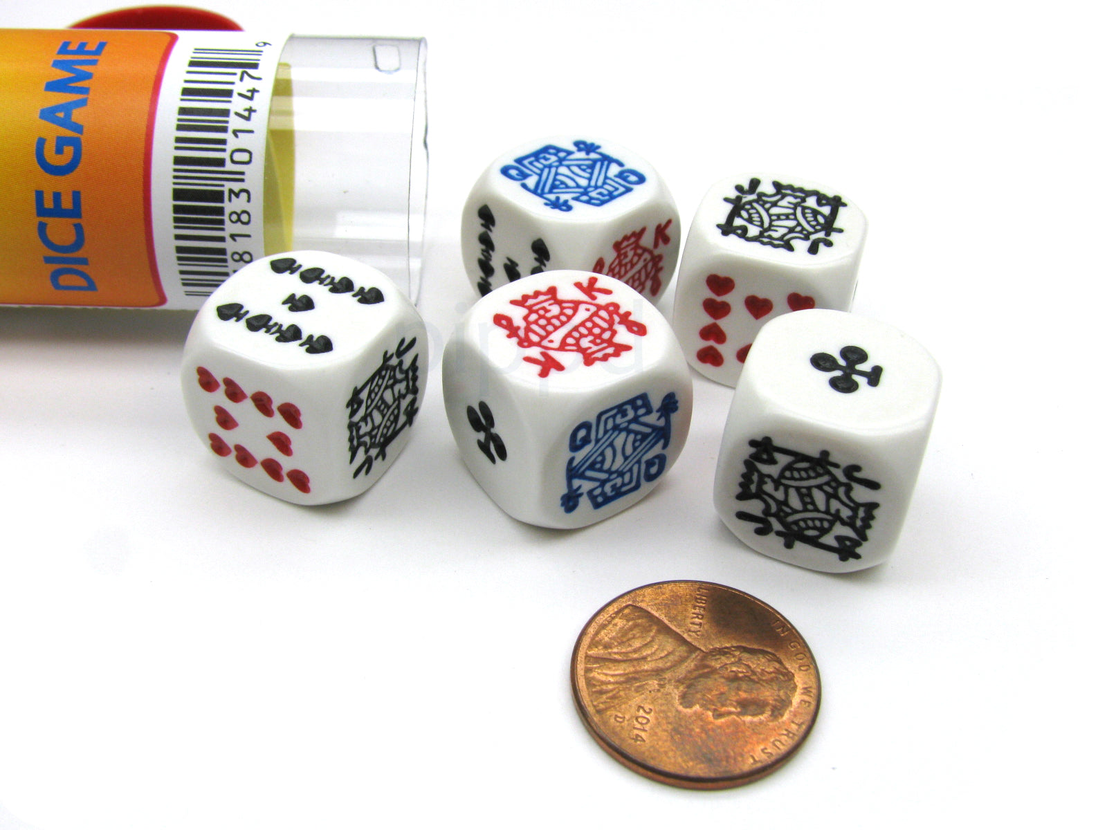 Poker Dice Game with 5 Dice Travel Tube and Gaming Instructions