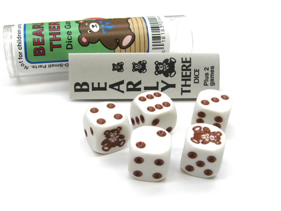 Bearly There Dice Game 5 Dice Set with Travel Tube and Instructions