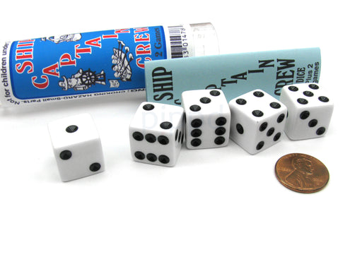 Ship Captain Crew Game Set with 5 White Dice Travel Tube and Gaming Instructions
