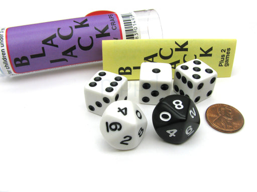 Blackjack C-Low & Craps Dice Game Set with Travel Tube and Instructions