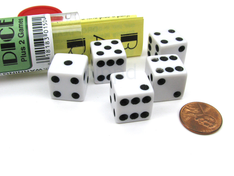 Bar Dice Game with 5 Dice Travel Tube and Gaming Instructions