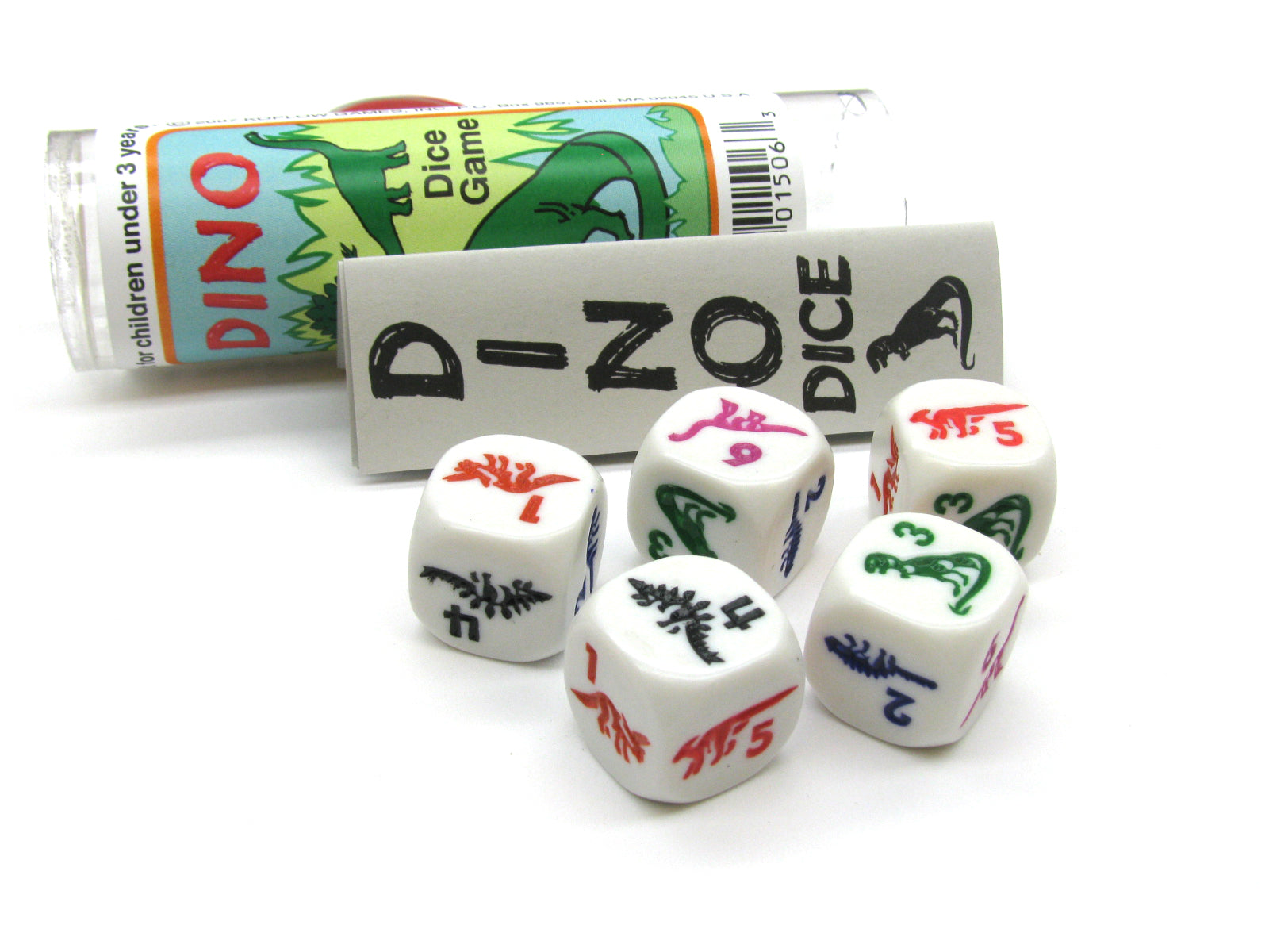 Dino Dice Game 5 Dice Set with Travel Tube and Instructions