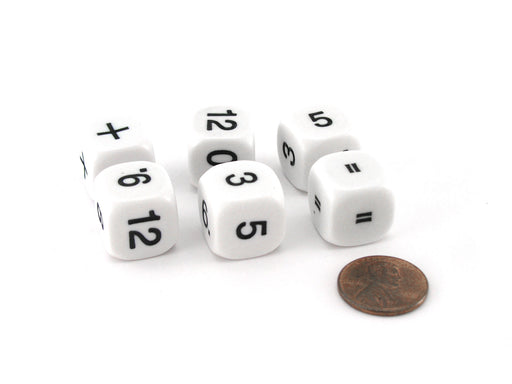 Pack of 6 Basic Addition and Subtraction Math Kit 16mm Dice - White with Black