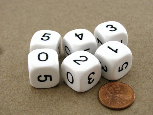 Pack of 6 Opaque Math Number (0-5) 16mm Dice - White with Black