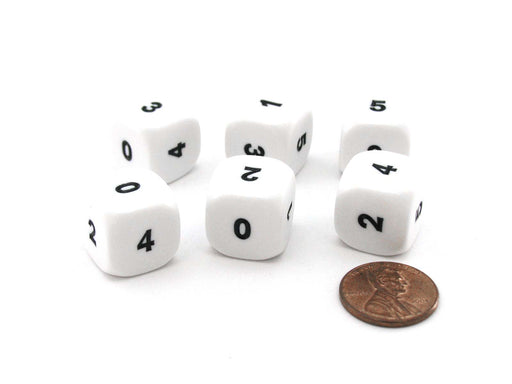 Pack of 6 Opaque Math Number (0-5) 16mm Dice - White with Black Small Numbers