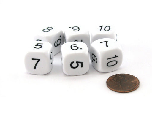 Pack of 6 Opaque Math Number (5-10) 16mm Dice - White with Black