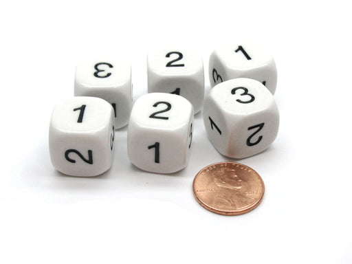 Pack of 6 Math Number 16mm Dice, Marked 1 to 3 Twice - White with Black