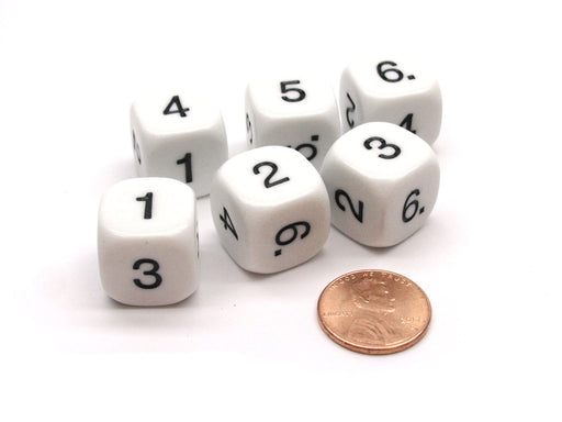 Pack of 6 Opaque Math Number (Numbered 1-6) 16mm Dice - White with Black