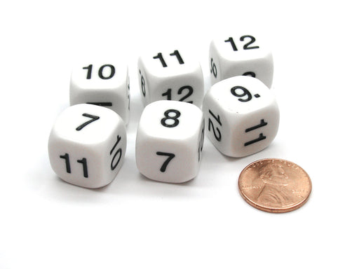 Pack of 6 Opaque Math Number (Numbered 7-12) 16mm Dice - White with Black