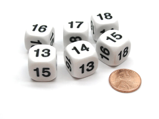 Pack of 6 Opaque Math Number (Numbered 13-18) 16mm Dice - White with Black