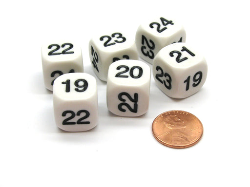 Pack of 6 Opaque Math Number (Numbered 19-24) 16mm Dice - White with Black