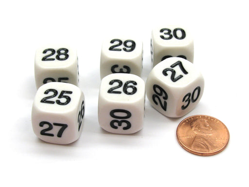 Pack of 6 Opaque Math Number (Numbered 25-30) 16mm Dice - White with Black