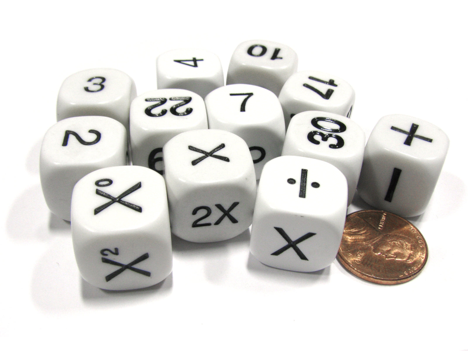 Set of 12 Educational Addition Subtraction Multiplication Division Math Dice