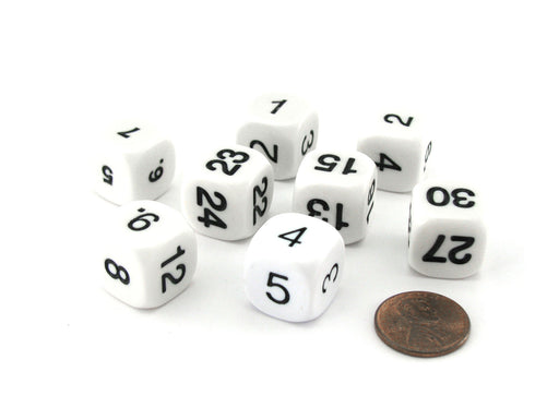 Pack of 8 Math Numbers 16mm Dice - White with Black Numbers