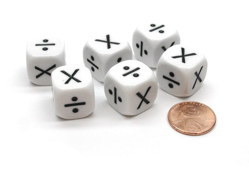 Pack of 6 Opaque Math Operator 2 Function (X,/) 16mm Dice - White with Black