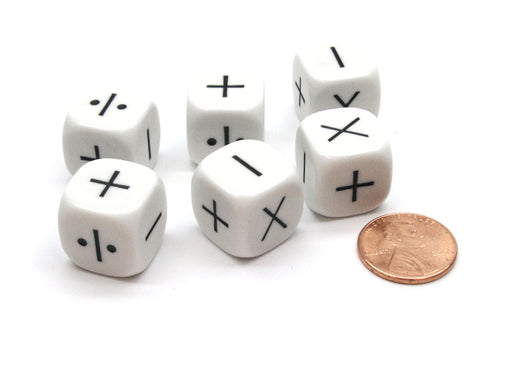 Pack of 6 Opaque Math Operator 4 Function (+,-,X,/) 16mm Dice - White with Black