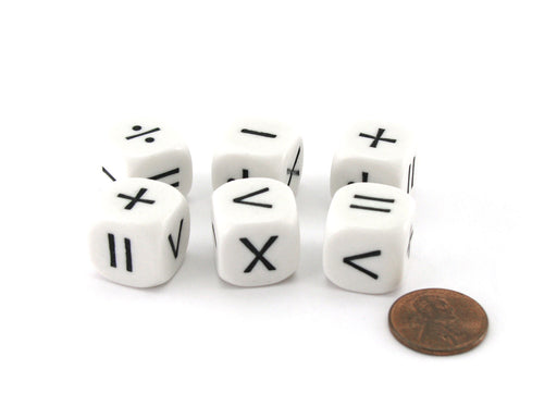 Pack of 6 Math Operator 6 Function (+,-,X,/,>,=) 16mm Dice - White with Black