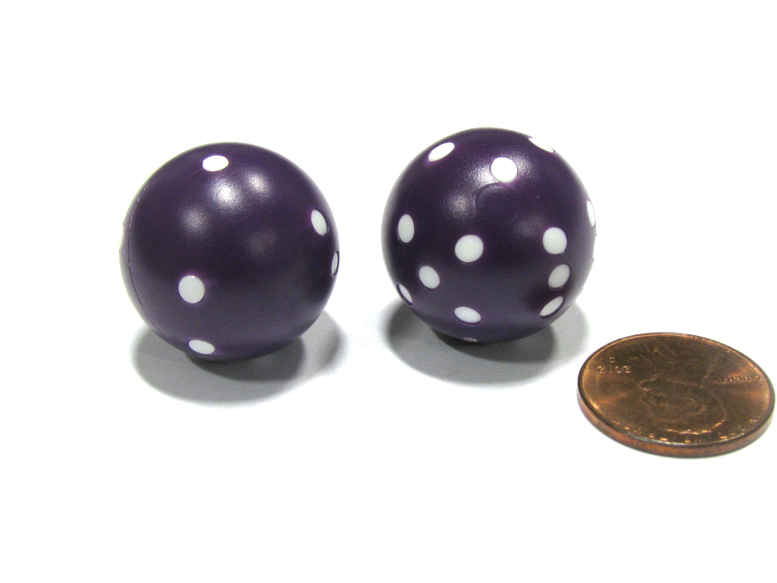 Set of 2 22mm Round Dice, Weighted to Display Number - Purple with White Pips