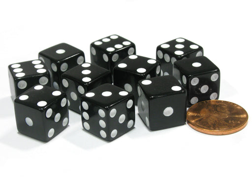 Set of 10 Six Sided D6 12mm Dice Die Squared RPG D&D Bunco Board Game Black