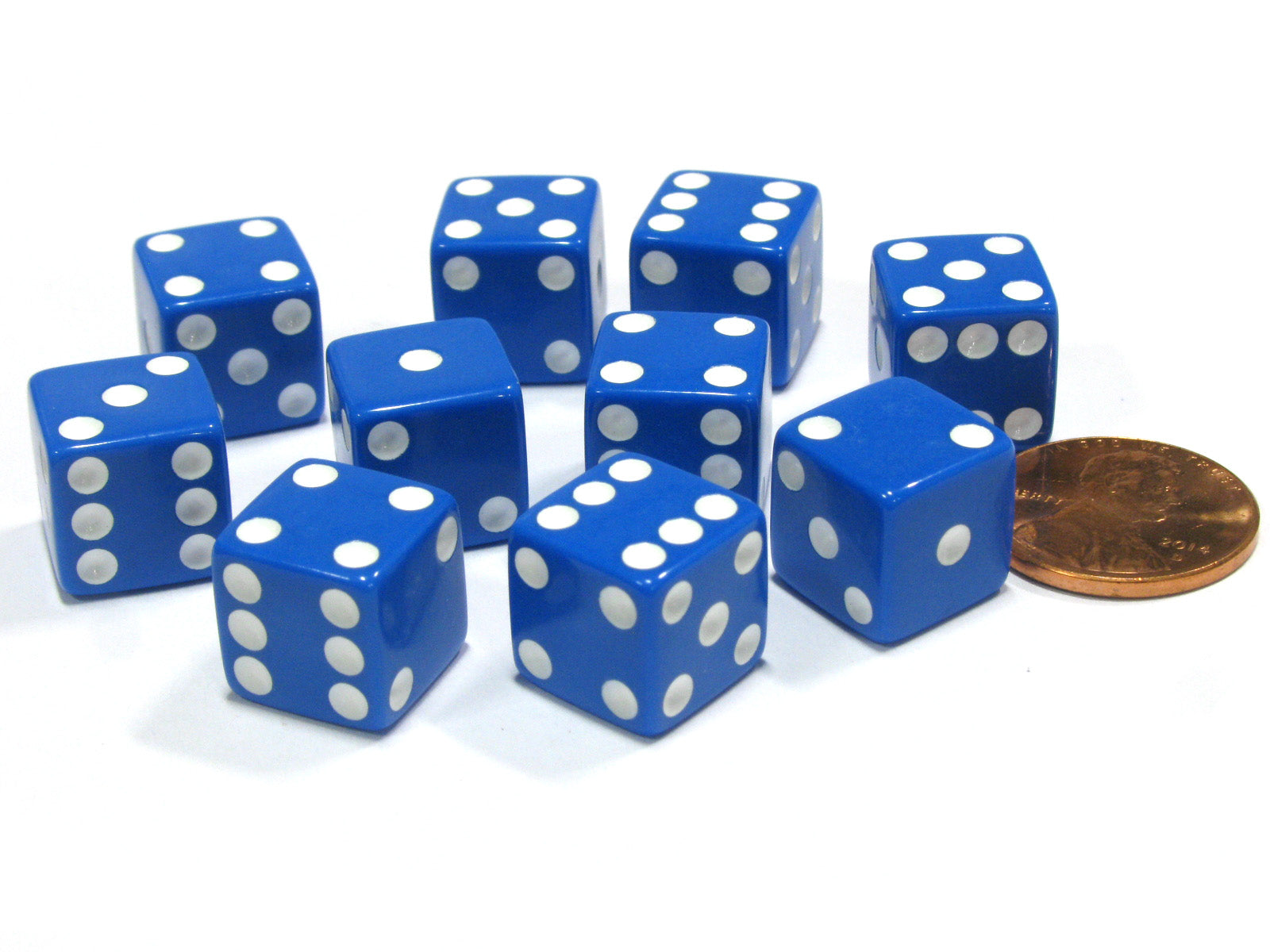 Set of 10 Six Sided D6 12mm Dice Die Squared RPG D&D Bunco Board Game Blue