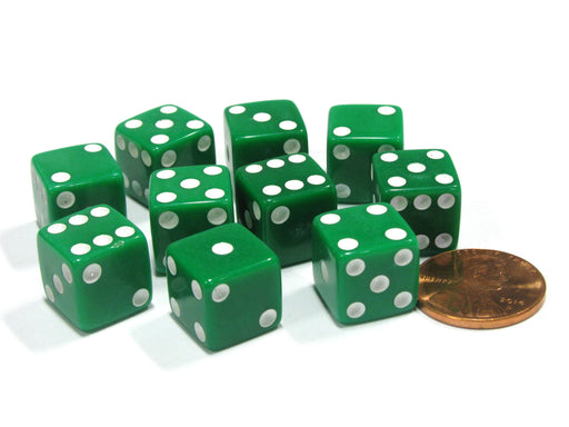 Set of 10 Six Sided D6 12mm Dice Die Squared RPG D&D Bunco Board Game Green
