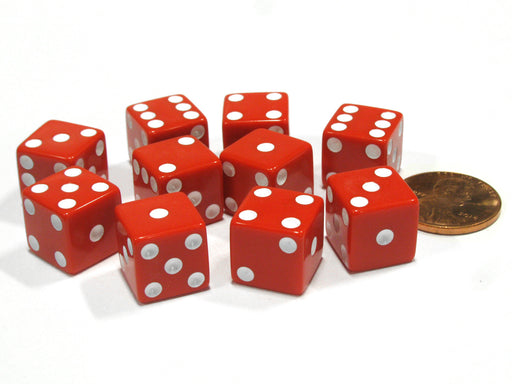 Set of 10 Six Sided D6 12mm Dice Die Squared RPG D&D Bunco Board Game Red