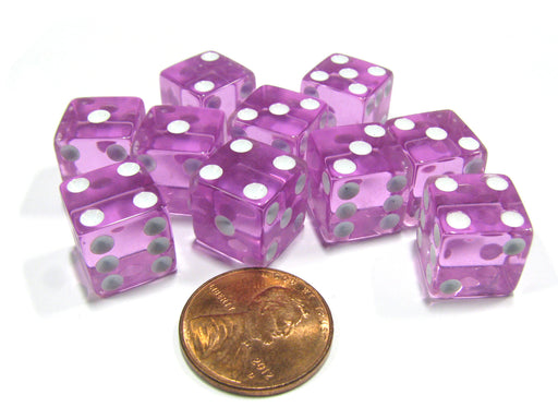 Set of 10 D6 Six-Sided 12mm Transparent Dice - Pink with White Pips