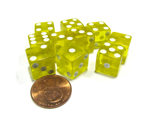 Set of 10 D6 Six-Sided 12mm Transparent Dice - Yellow with White Pips