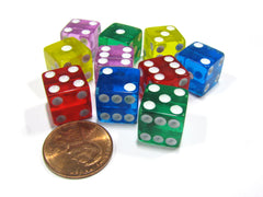 Set of 10 D6 Six-Sided 12mm Transparent Dice - 2 of Blue Green Pink Red Yellow