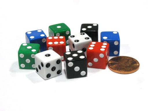 Set of 10 D6 12mm Small Square Edge Dice - 2 of Each: Red White Blue Black Green