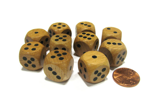 Set of 10 D6 Six Sided 16mm Round Edge Wooden Dice ~ Wood Dice