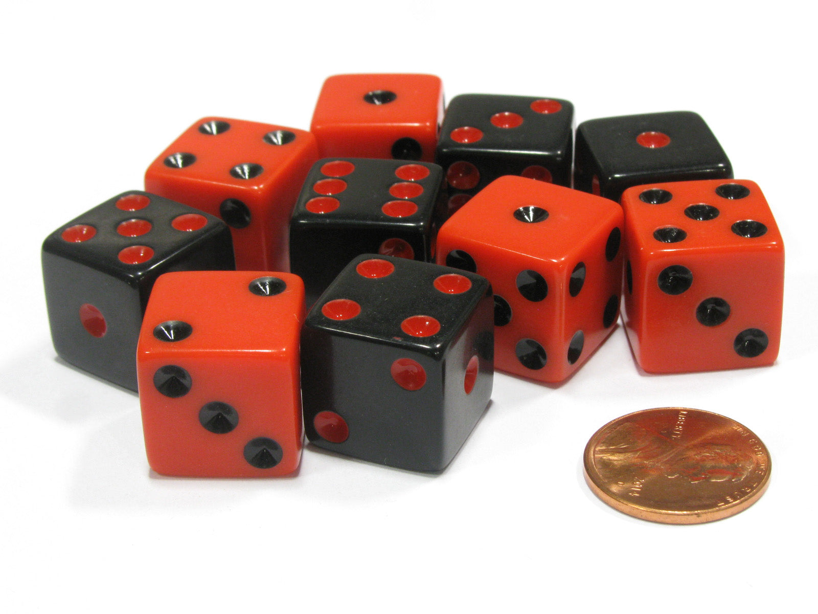 Set of 10 D6 16mm Dice - 5 Each of Black with Red Pip and Red with Black Pip