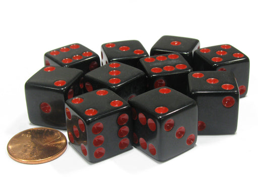 Set of 10 Six Sided Square Opaque 16mm D6 Dice - Black with Red Pip Die