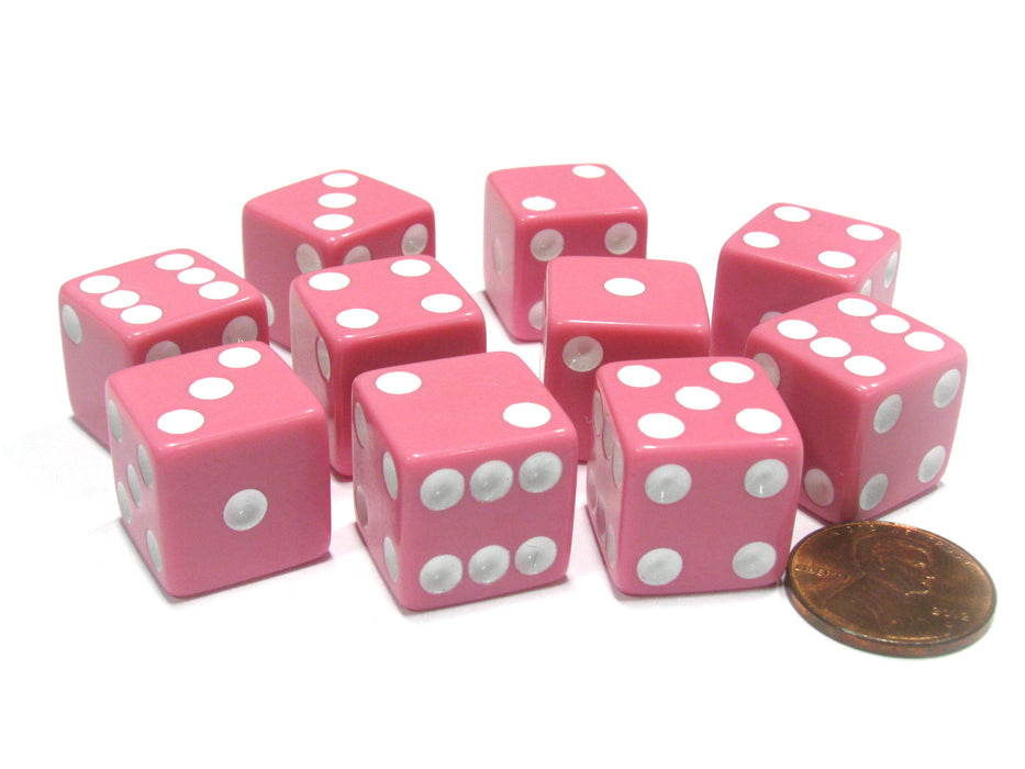 Set of 10 Six Sided Square Opaque 16mm D6 Dice - Pink with White Pip Die