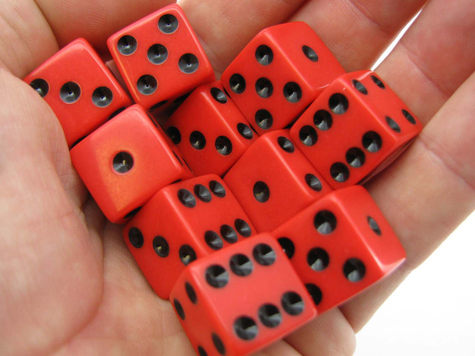 Set of 10 Six Sided Square Opaque 16mm D6 Dice - Red with Black Pip Die