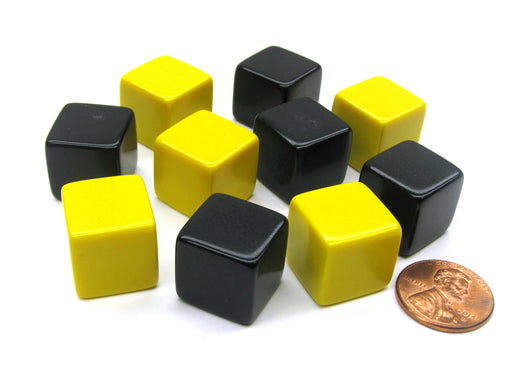 Set of 10 D6 16mm Blank Opaque Dice - 5 Yellow and 5 Black