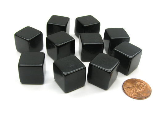 Set of 10 D6 16mm Blank Opaque Dice - Black